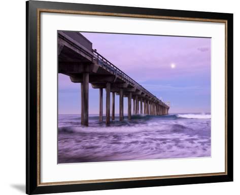 USA, California, La Jolla, Full Moon Setting at Dawn over Scripps Pier, La Jolla Shores-Ann Collins-Framed Art Print