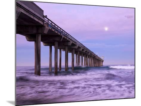 USA, California, La Jolla, Full Moon Setting at Dawn over Scripps Pier, La Jolla Shores-Ann Collins-Mounted Photographic Print