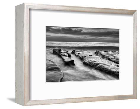 USA, California, La Jolla, Rising Tide and Waves at Coast Blvd at Dusk-Ann Collins-Framed Art Print