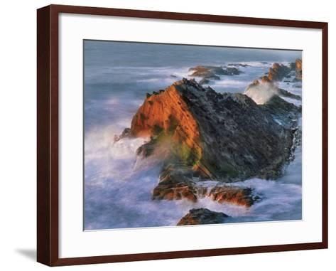 USA, Oregon, Shore Acres State Park. Sunset Light on Ocean Shore Cliffs-Jaynes Gallery-Framed Art Print