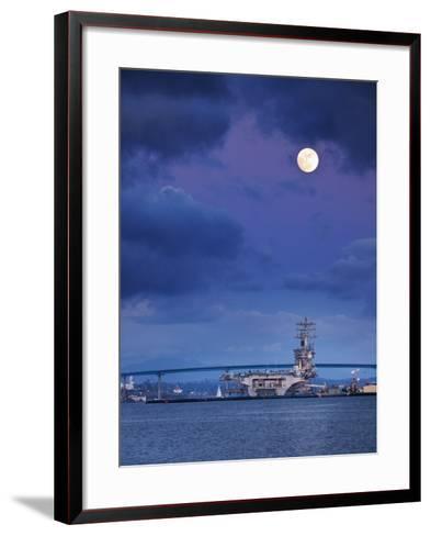 USA, California, San Diego, Uss Nimitz Moored under Full Moon in San Diego Bay-Ann Collins-Framed Art Print