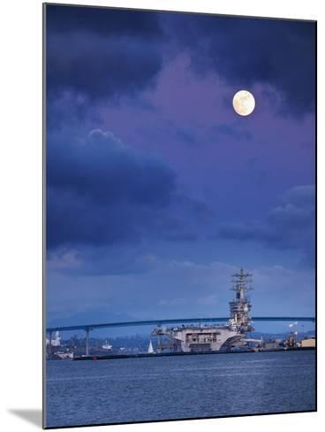 USA, California, San Diego, Uss Nimitz Moored under Full Moon in San Diego Bay-Ann Collins-Mounted Photographic Print