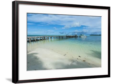 Boat Pier on Carp Island, One of the Rock Islands, Palau, Central Pacific-Michael Runkel-Framed Art Print