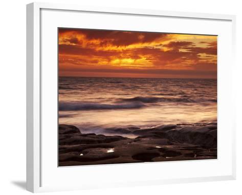 USA, California, La Jolla, Sunset over Tide Pools at Coast Blvd-Ann Collins-Framed Art Print