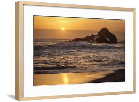 USA, California, Big Sur. Sunset and Splashes at Pfeiffer Beach-Ann Collins-Framed Art Print