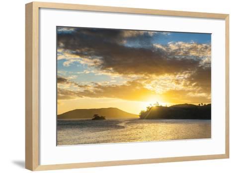 Sunset over the Beach, Nacula Island, Yasawa, Fiji, South Pacific-Michael Runkel-Framed Art Print