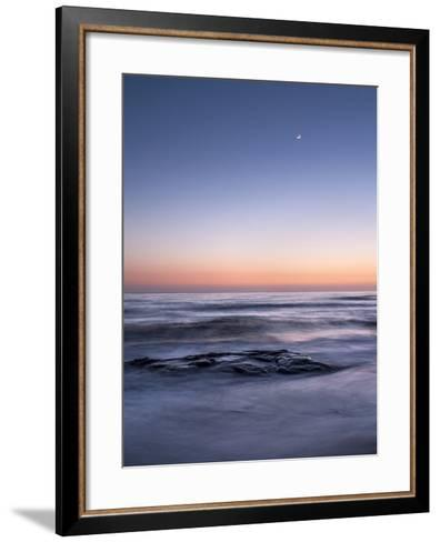 USA, California, La Jolla. Crescent Moon at Twilight over Windansea Beach-Ann Collins-Framed Art Print