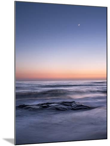 USA, California, La Jolla. Crescent Moon at Twilight over Windansea Beach-Ann Collins-Mounted Photographic Print