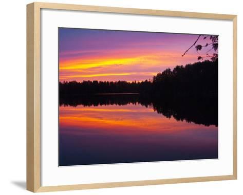 Canada, Ontario, Quetico Park, Lake Agnes Wilderness, Red Sunset-Bernard Friel-Framed Art Print