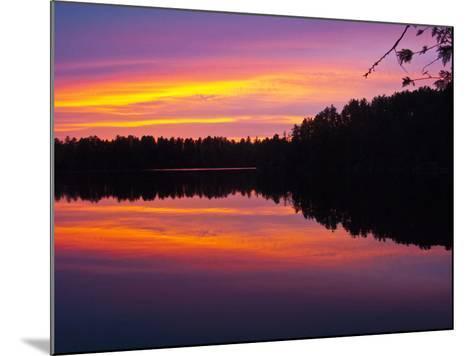 Canada, Ontario, Quetico Park, Lake Agnes Wilderness, Red Sunset-Bernard Friel-Mounted Photographic Print