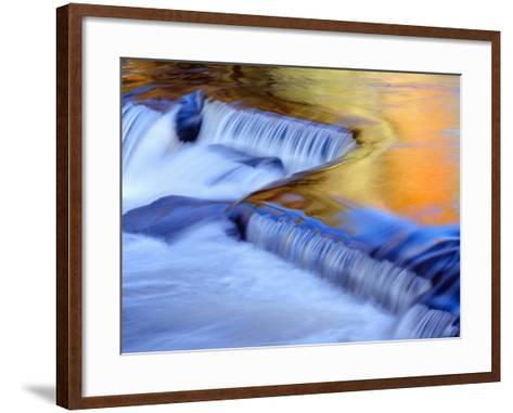 USA, Michigan, Ottawa National Forest, Fluid Cascade and Smooth Water Reflecting Fall Foliage-John Barger-Framed Art Print