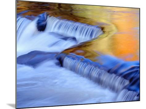 USA, Michigan, Ottawa National Forest, Fluid Cascade and Smooth Water Reflecting Fall Foliage-John Barger-Mounted Photographic Print