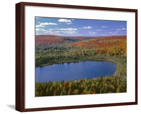 USA, Minnesota, Superior National Forest, Fall Colored Northern Hardwood Forest and Oberg Lake-John Barger-Framed Art Print