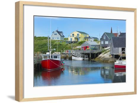 Canada, Peggy's Cove, Nova Scotia, Peaceful and Quiet Famous Harbor with Boats and Homes in Summer-Bill Bachmann-Framed Art Print