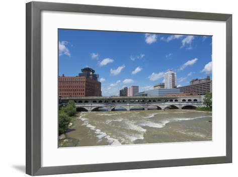 Rochester, New York, Beautiful Genesee River and Downtown Skyline on Main Street Brown Water River-Bill Bachmann-Framed Art Print