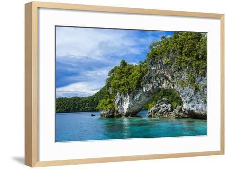 Rock Arch in the Rock Islands, Palau, Central Pacific-Michael Runkel-Framed Art Print