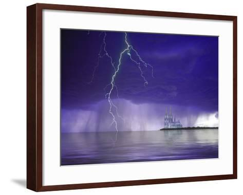 Composite of Fantasy Cathedral, Lightning and Water-Jaynes Gallery-Framed Art Print
