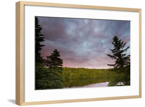 Canada, Quebec, Lake Long Pond. Sunset on Lake and Forest-Jaynes Gallery-Framed Art Print