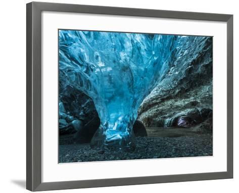 Ice Cave in the Glacier Breidamerkurjokull in Vatnajokull National Park-Martin Zwick-Framed Art Print