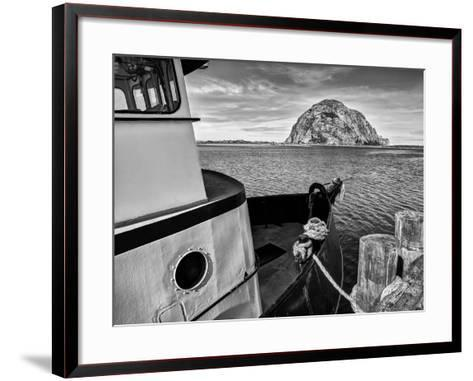USA, California, Morro Bay, Fishing Boat Pointing at Morro Rock-Ann Collins-Framed Art Print