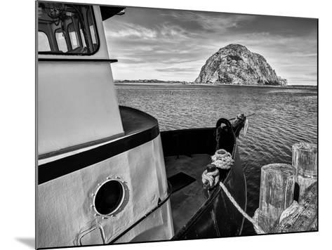 USA, California, Morro Bay, Fishing Boat Pointing at Morro Rock-Ann Collins-Mounted Photographic Print