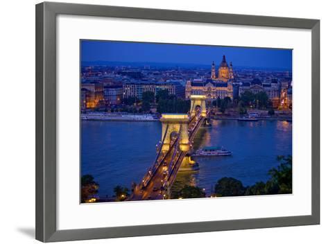 Europe, Hungary, Budapest. Chain Bridge Lit at Night-Jaynes Gallery-Framed Art Print