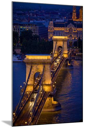Europe, Hungary, Budapest. Chain Bridge Lit at Night-Jaynes Gallery-Mounted Photographic Print