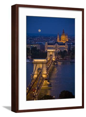 Europe, Hungary, Budapest. Chain Bridge Lit at Night-Jaynes Gallery-Framed Art Print
