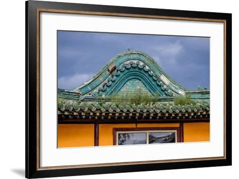 Asia, Mongolia, Ulaanbaatar, Gandantegchinlen Monastery. Storm Clouds over Datsan-Emily Wilson-Framed Art Print