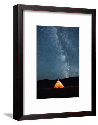 Asia, Western Mongolia, Khovd Province, Gashuun Suhayt. River Valley. Tent with Stars and Milky Way-Emily Wilson-Framed Art Print