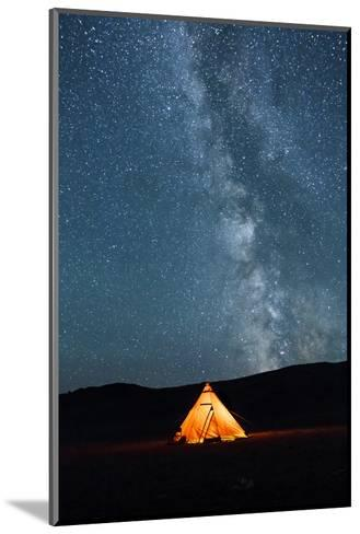 Asia, Western Mongolia, Khovd Province, Gashuun Suhayt. River Valley. Tent with Stars and Milky Way-Emily Wilson-Mounted Photographic Print