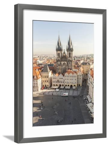 Aerial of Old Town Square. Church of Our Lady of Tryn. Prague, Czech Republic-Tom Norring-Framed Art Print