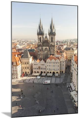 Aerial of Old Town Square. Church of Our Lady of Tryn. Prague, Czech Republic-Tom Norring-Mounted Photographic Print