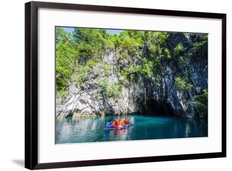 Tourist Entering on a Little Rowing Boat, Puerto Princessa Underground River, Palawan, Philippines-Michael Runkel-Framed Art Print