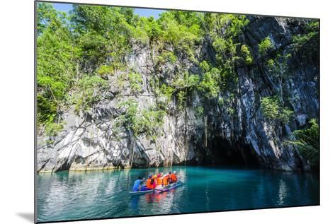 Tourist Entering on a Little Rowing Boat, Puerto Princessa Underground River, Palawan, Philippines-Michael Runkel-Mounted Photographic Print