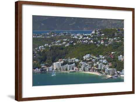 Wellington Harbour and Oriental Bay, Wellington, North Island, New Zealand-David Wall-Framed Art Print
