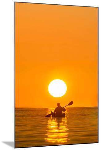 Washington, Woman Sea Kayaker Paddles on Puget Sound Near Deception Pass Bridge-Gary Luhm-Mounted Photographic Print