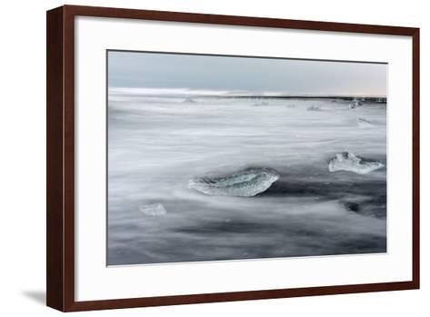 Icebergs on Black Volcanic Beach. Beach Near the Glacial Lagoon Jokulsarlon-Martin Zwick-Framed Art Print