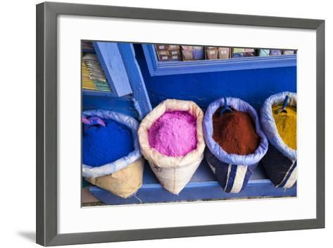 Morocco, Chaouen. Paint Pigments in Burlap Sacks-Emily Wilson-Framed Art Print