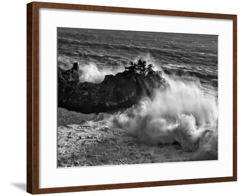 California, Big Sur, Big Wave Crashes Against Rocks and Trees at Julia Pfeiffer Burns State Park-Ann Collins-Framed Art Print