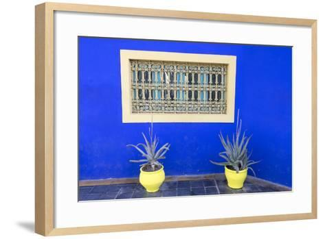 Morocco, Marrakech, Potted Succulent Plants Outside a Blue Building-Emily Wilson-Framed Art Print