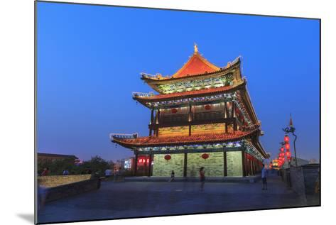 Night Lighting and Glowing Lanterns, Views from Atop City Wall, Xi'An, China-Stuart Westmorland-Mounted Photographic Print