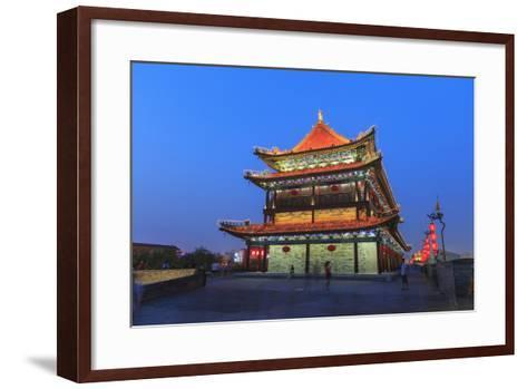 Night Lighting and Glowing Lanterns, Views from Atop City Wall, Xi'An, China-Stuart Westmorland-Framed Art Print