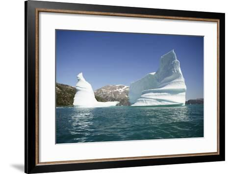 Greenland, Skjoldungen Fjord, Large Sculptural Icebergs with Scenic Snow Capped Mountains-Aliscia Young-Framed Art Print