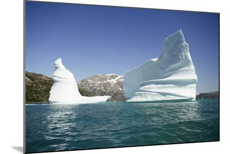 Greenland, Skjoldungen Fjord, Large Sculptural Icebergs with Scenic Snow Capped Mountains-Aliscia Young-Mounted Photographic Print