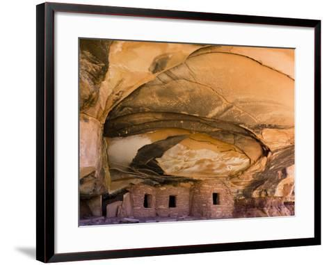USA, Utah, Blanding. Fallen Roof Ruin in Road Canyon on Cedar Mesa-Charles Crust-Framed Art Print
