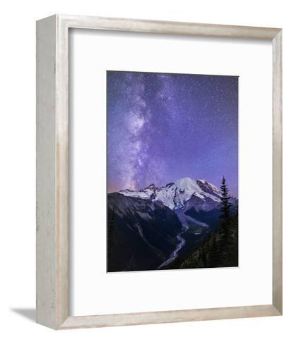 Washington, White River Valley Looking Toward Mt. Rainier on a Starlit Night with the Milky Way-Gary Luhm-Framed Art Print