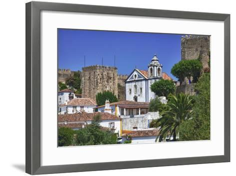 Portugal, Obidos, Elevated View of the Town with the Red Roofs-Terry Eggers-Framed Art Print