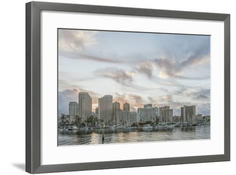Hawaii, Honolulu, Waikiki Skyline at Sunrise-Rob Tilley-Framed Art Print