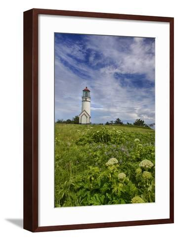 USA, Oregon, Cape Blanco Lighthouse on the Oregon Coastline with Clouds-Terry Eggers-Framed Art Print